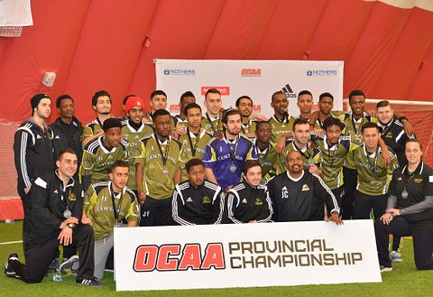Picture of Centennial College Colts mens soccer team after winning silver at the OCAA provincial championship 2015